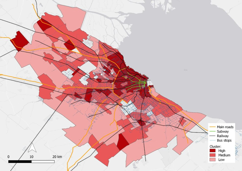 Socio-economic clusters and main transport infrastructures in the AMBA